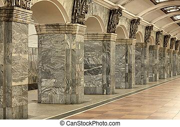 frammento, di, il, interno, con, colonne