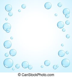 Framr with bright sparkling soap bubbles, vector illustration.