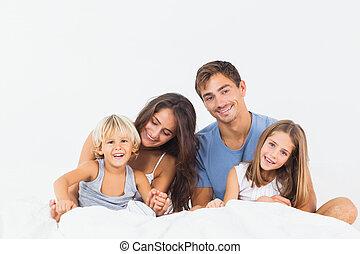 framställ, säng, familj, lycklig