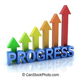 framsteg, begrepp, färgrik, graf