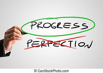 framsteg, begrepp, -, perfektion