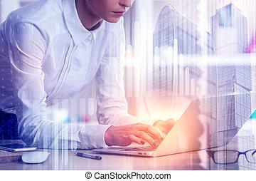 framtid, begrepp, teknologi, kontor