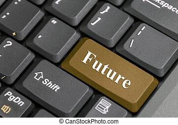 framtid, på, tangentbord