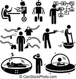 framtid, teknologi, robot, pictogram