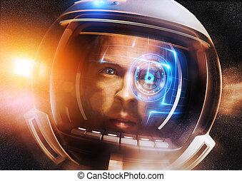 framtid, vetenskaplig, astronaut