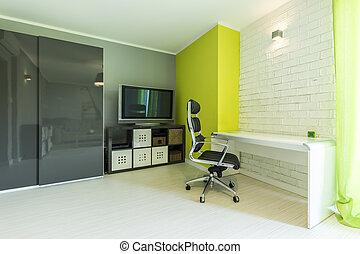 framtidstrogen, neon, rum, med, skrivbord