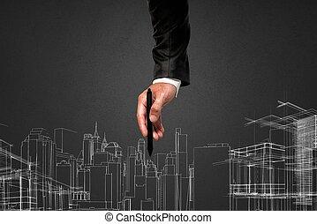 framtidstrogen, projekt, av, a, byggnad