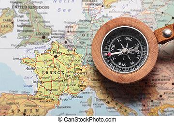 frança, mapa, viaje destino, compasso