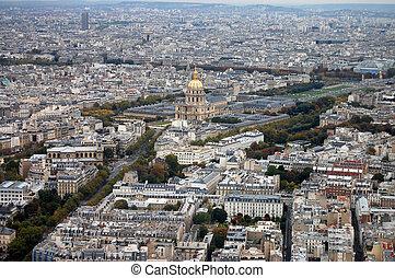 frança, paris:, agradável, aéreo, vista cidade, de, montparnasse