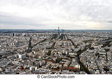 frança, paris:, agradável, aéreo, vista cidade, de,...
