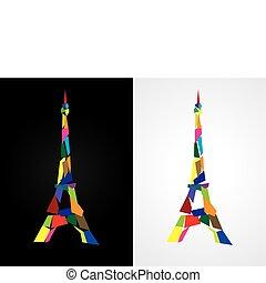 fran, 抽象的, エッフェル, -, パリ, タワー