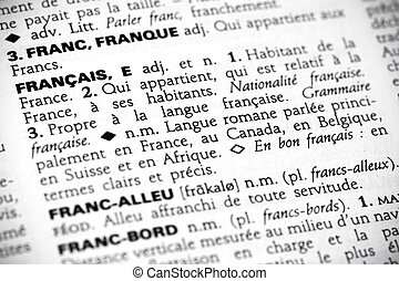 Fran?ais in the dictionary - Macro shot with focus on the...