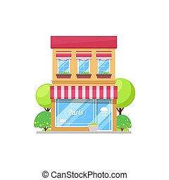 francés, café, edificio, parisiense, restaurante, aislado