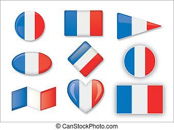 francés, conjunto, de, banderas