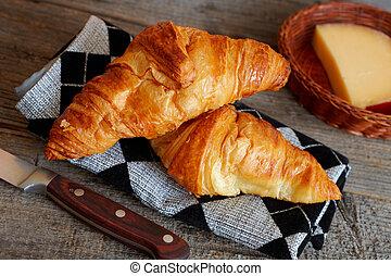 francés, crescent, croissants