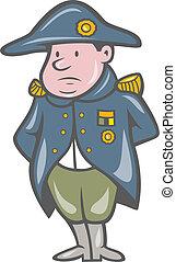 francés, miilitary, general, caricatura