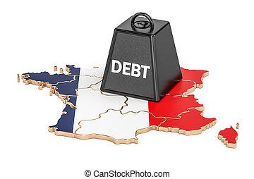 francés, nacional, deuda, o, presupuesto, déficit, financiero, crisis, concepto, 3d, interpretación