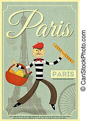 francés, retro, tarjeta