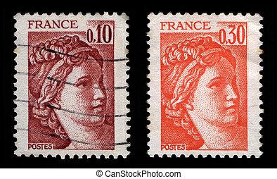 francés, sellos