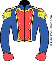 francés, uniforme, soldado, histórico, caricatura, icono