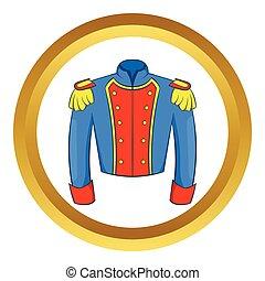 francés, uniforme, soldado, vector, histórico, icono