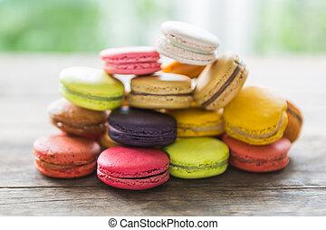 francês, coloridos, macarons, em, um, filas
