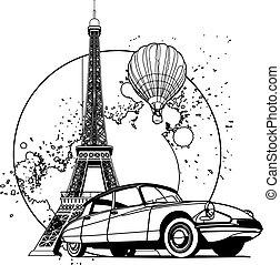 francês, estilo, emblema, preto branco