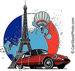 francês, estilo, emblema