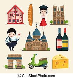 francês, landmarks., vetorial, ilustrações, em, caricatura, estilo