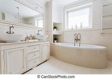 francês, luxuoso, banheiro, com, janela