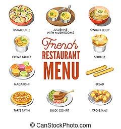 francês, menu restaurante, com, tradicional, nacional,...