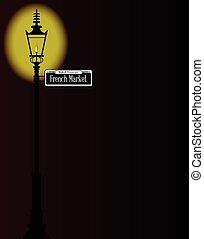 francês, mercado, sinal, com, lâmpada