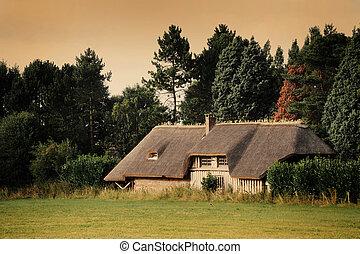 francês, normandy, casa, típico