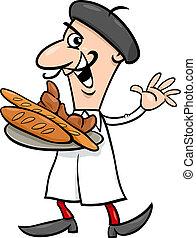 francês, padeiro, caricatura, ilustração