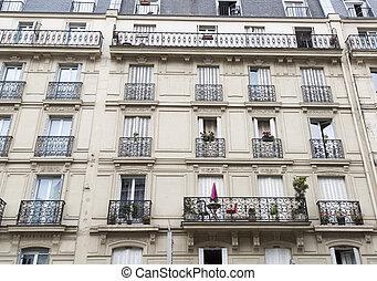 francês, sacadas, em, paris