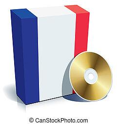 francês, software, caixa