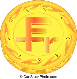Franc coin - gold franc, metal franc, small change, pocket...