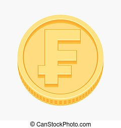 Franc currency symbol on gold coin