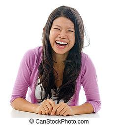 franc, femme, asiatique, rire