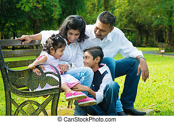 franc, indien, famille, heureux