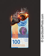 Franc Note Burning - A concept image showing a half burnt ...