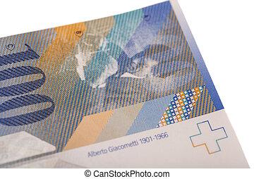 franc suisse, note, isolé