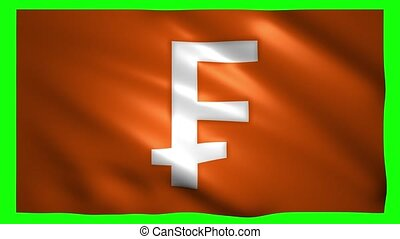 Franc symbol on the flag on green screen