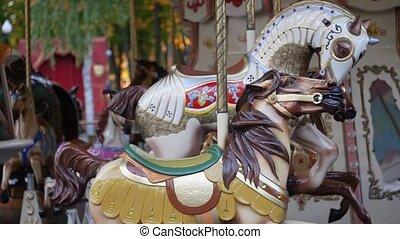 francais, carrousel, dans ville, amusement, park.