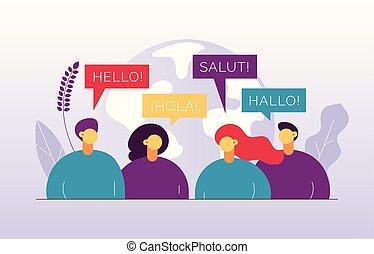 francais, german., mot, bonjour, vecteur, cours, branché, illustration, concept, globe terre, plat, gens, parler, moderne, agence, grand, languages., langue, traduction, espagnol, différent