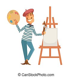 francais, peintre, à, palette, et, easle, à, toile
