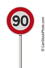 francais, route, 90, limite, signe vitesse