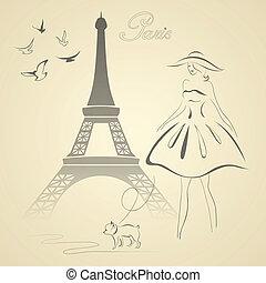 francais, style, vecteur, retro, illustration