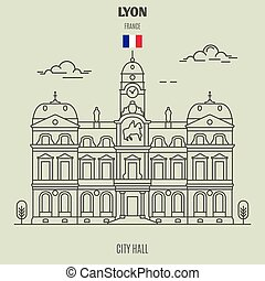 france., διακριτικό σημείο , δημαρχείο , εικόνα , lyon