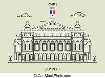 france., διακριτικό σημείο , εικόνα , garnier, όπερα , παρίσι